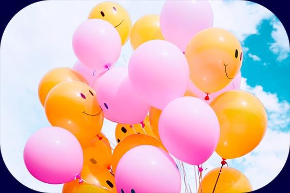 Luftballons mit guter Laune